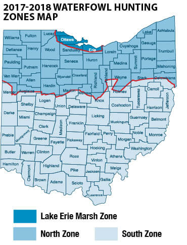 I 80 Ohio Map.Waterfowl Migratory Bird Hunting Ohio Hunting Seasons