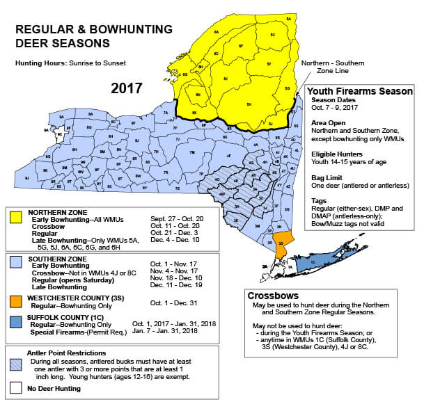 Deer hunting new york hunting seasons regulations for Fishing regulations ny