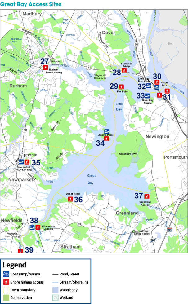 Coastal access sites new hampshire saltwater fishing for Ma saltwater fishing license