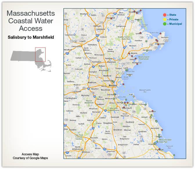 Coastal water access maps massachusetts saltwater for Mass fishing regulations