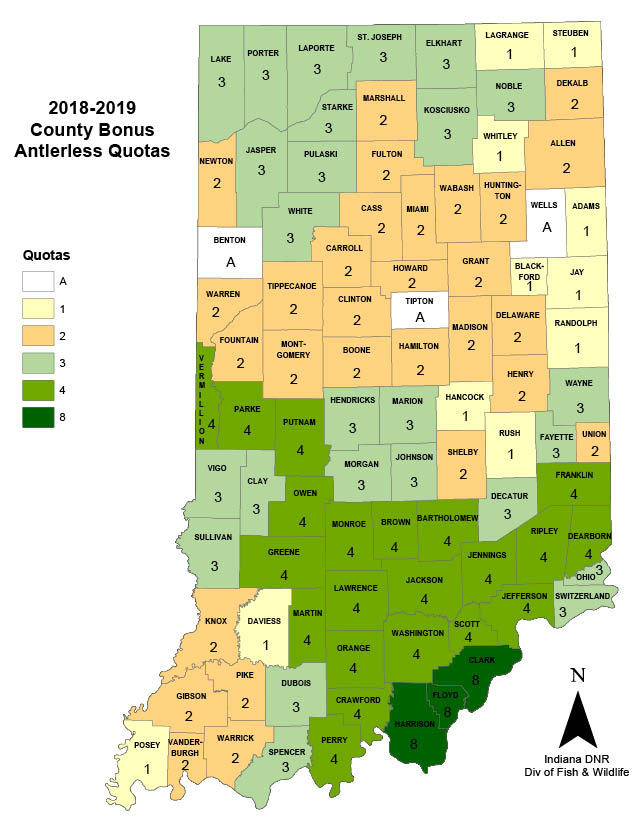 Upland Indiana Map.Bonus Antlerless Deer Indiana Hunting Seasons Regulations 2018