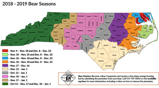Bears In Oregon Map.Bear Seasons Map North Carolina Hunting Fishing Regulations
