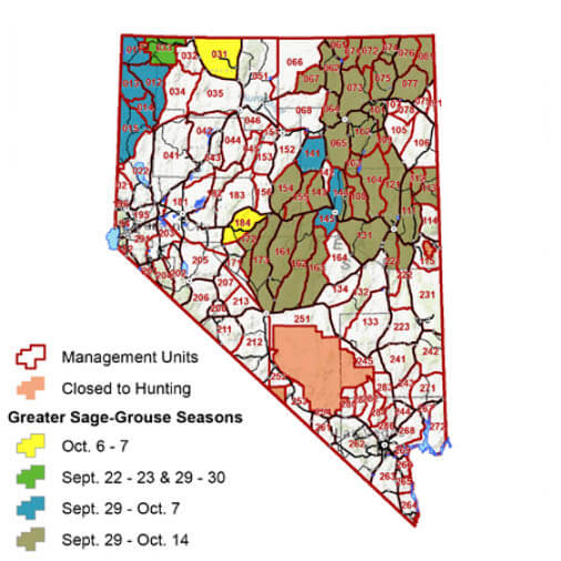 Nevada Hunt Map Upland Game Bird, Rabbit, Dove & Crow | Nevada Small Game Hunting