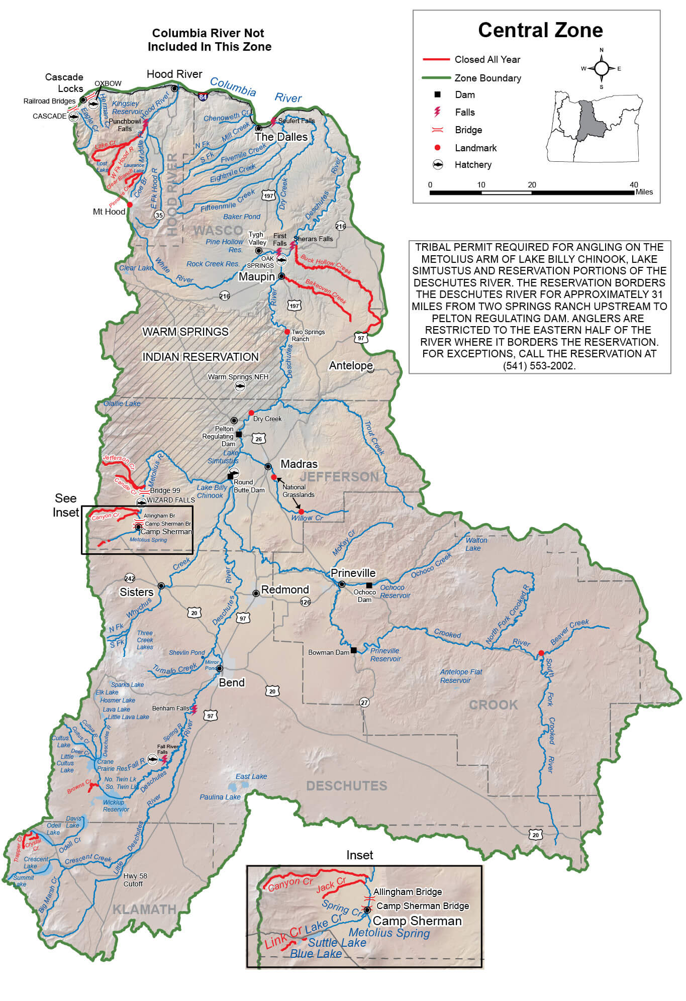 Central Zone Regulations & Map | Oregon Fishing Regulations – 2019