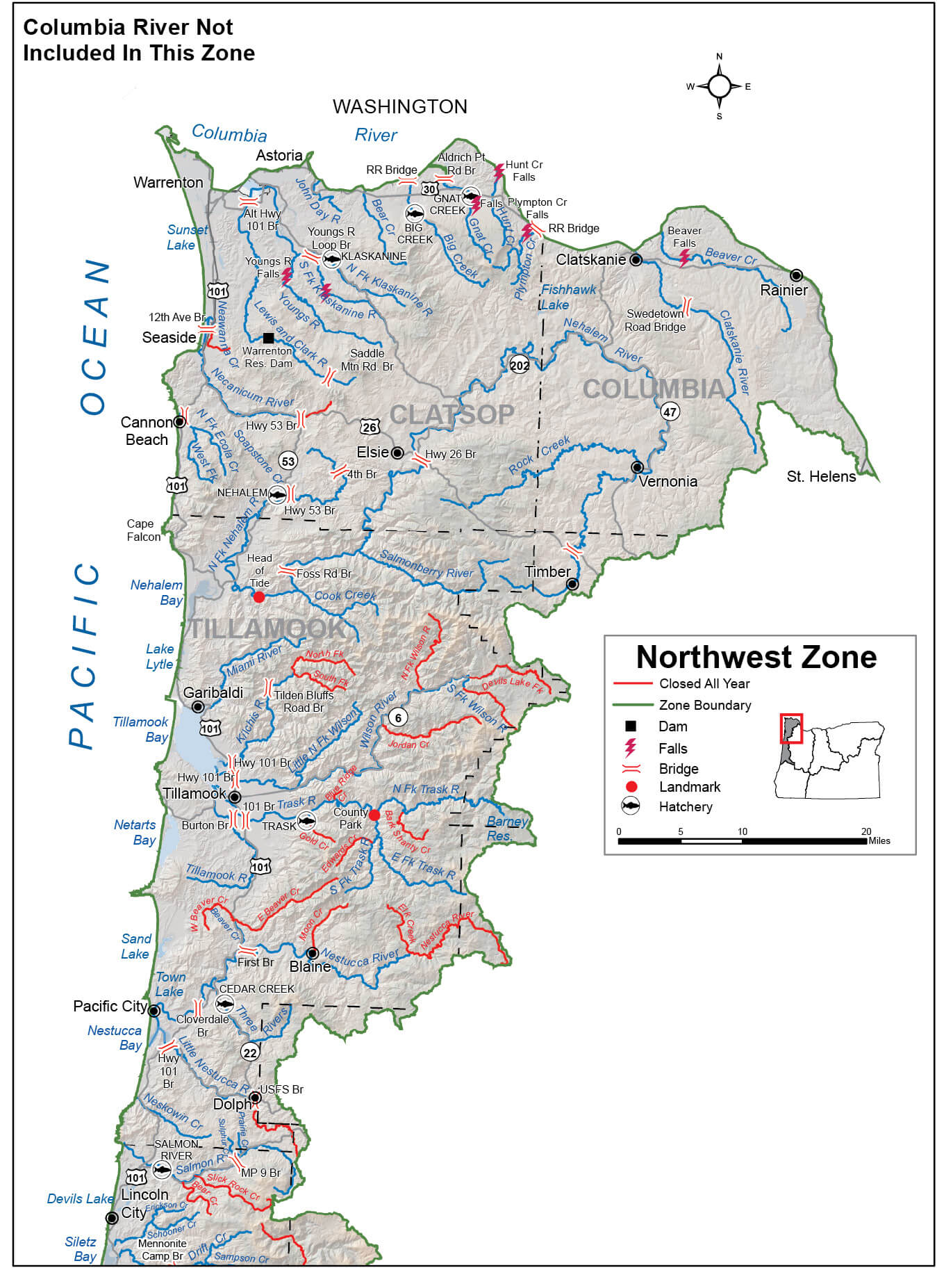 Northwest Zone Regulations & Map | Oregon Fishing Regulations – 2019