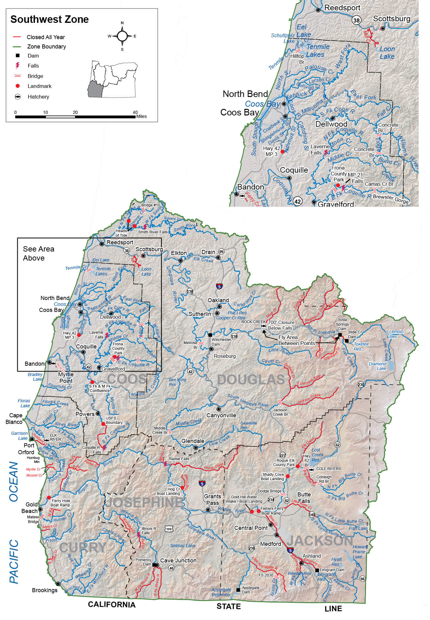 Southwest Zone Regulations & Map | Oregon Fishing