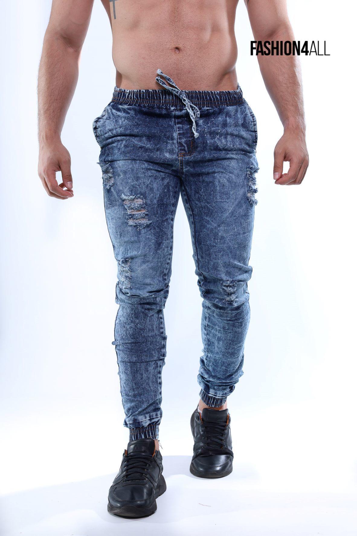 Calça jogger jeans destroyed com elastano- azul médio