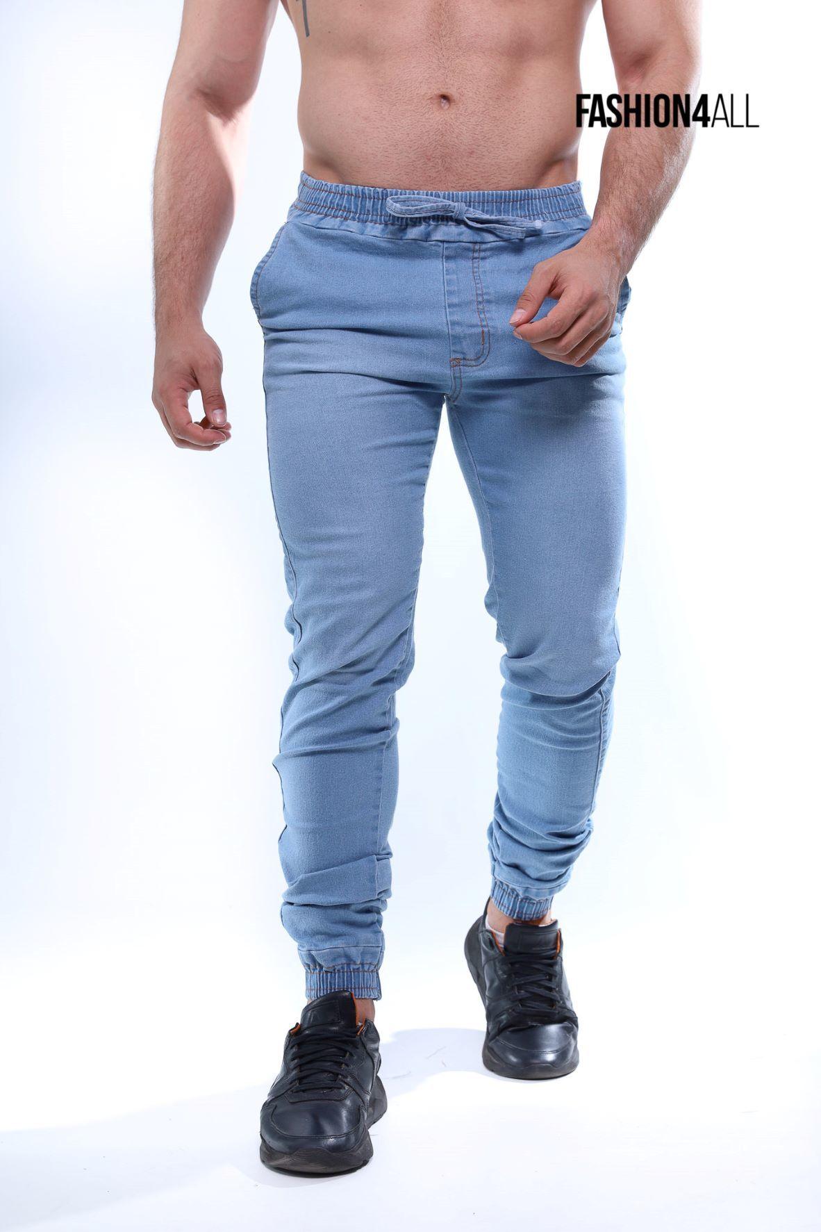 Calça Jogger Masculina Jeans Elastano - Denin Claro