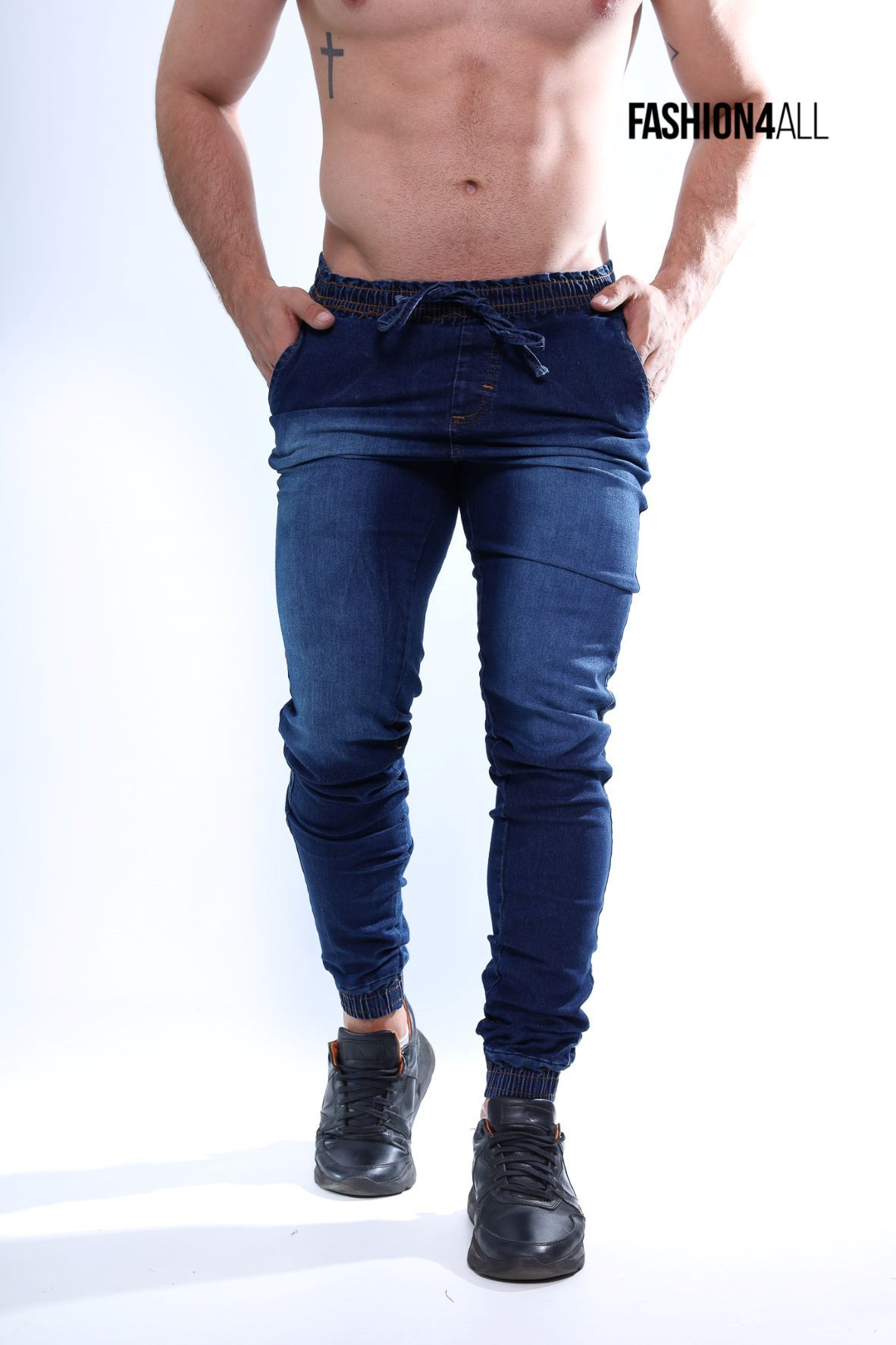 Calça Jogger Masculina Jeans Elastano - Denin Escuro