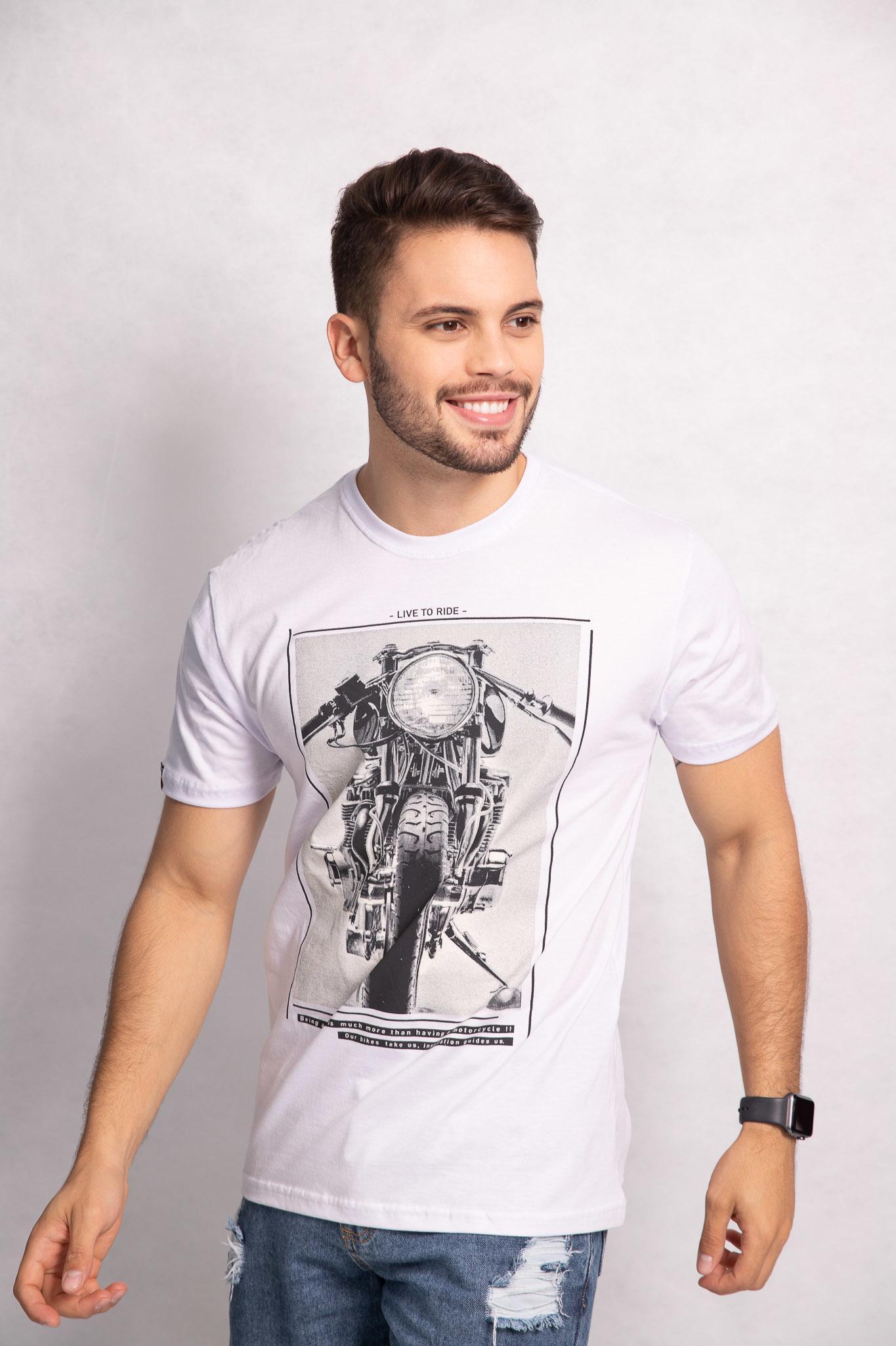 Camiseta masculina estampa Live to Ride