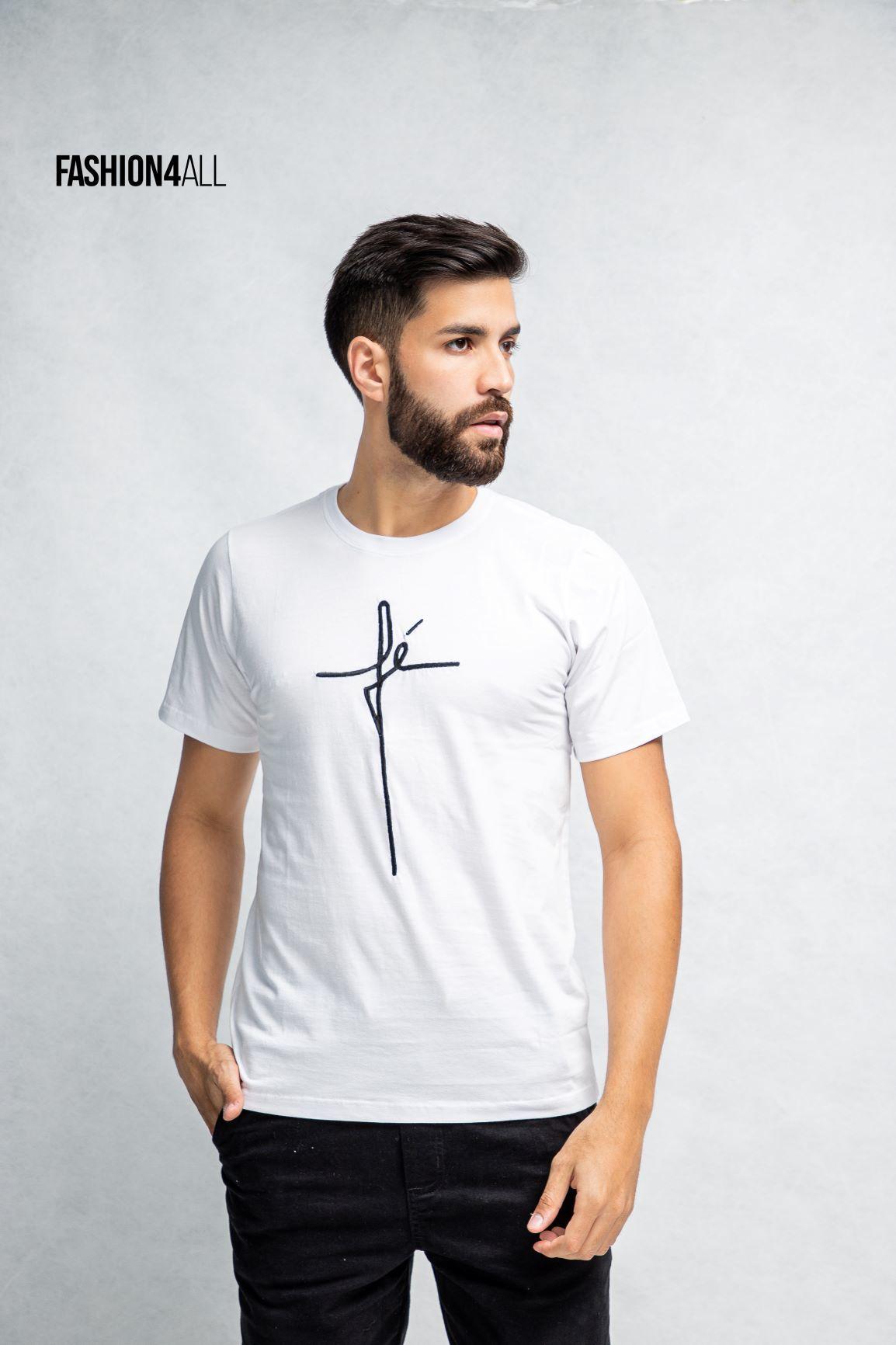 CAMISETA MASCULINA GOSPEL FÉ  BORDADO SHOUT FOR JESUS