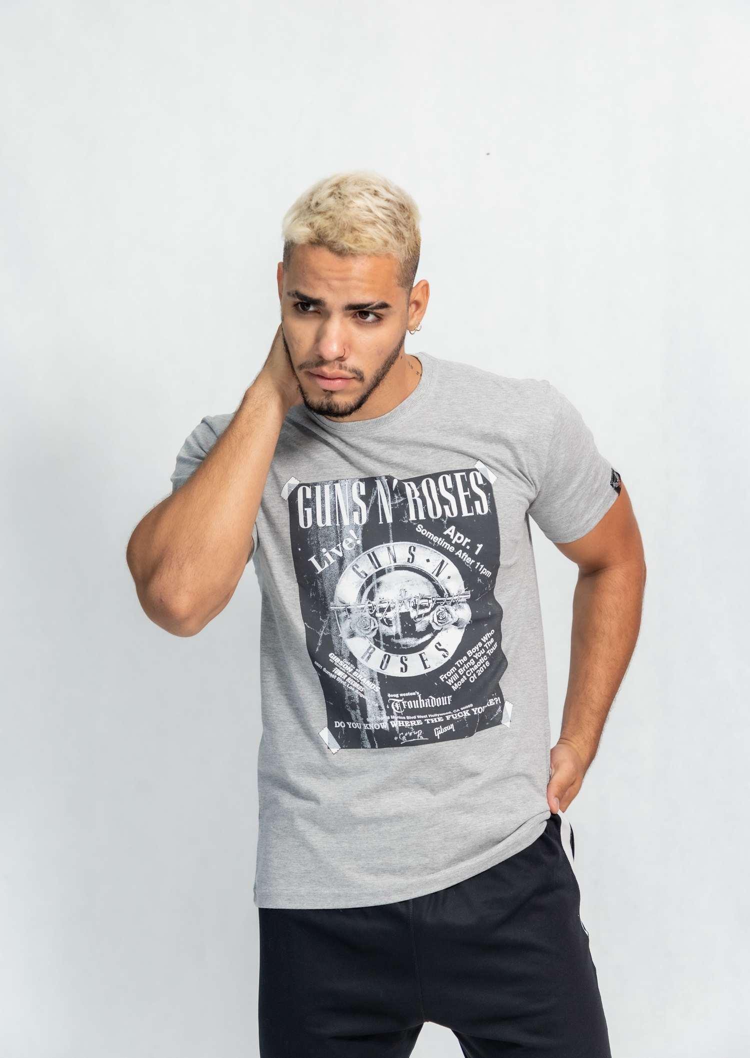 Camiseta masculina estampa Poster Guns'n Roses