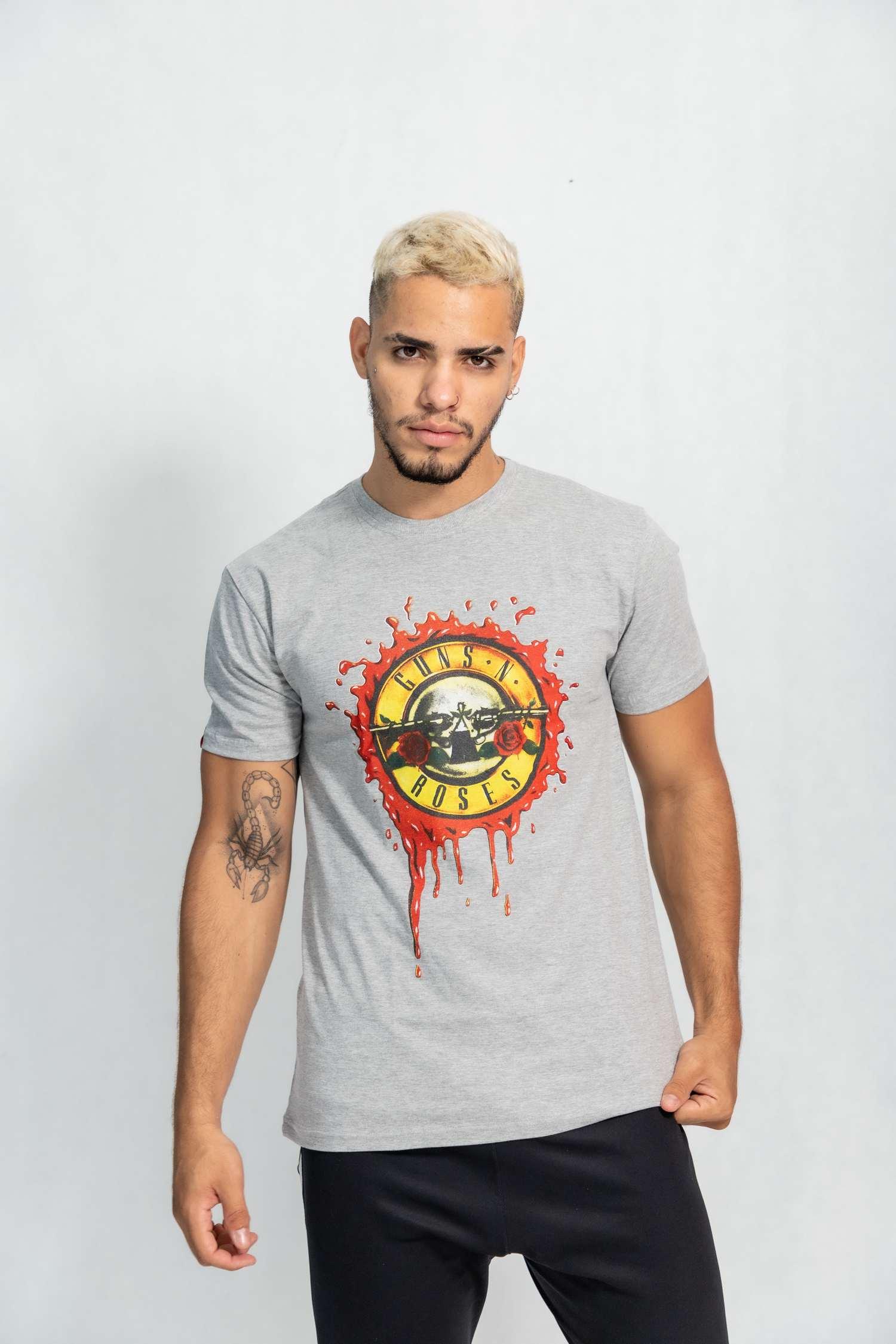 Camiseta masculina estampa Selo Guns'n Roses