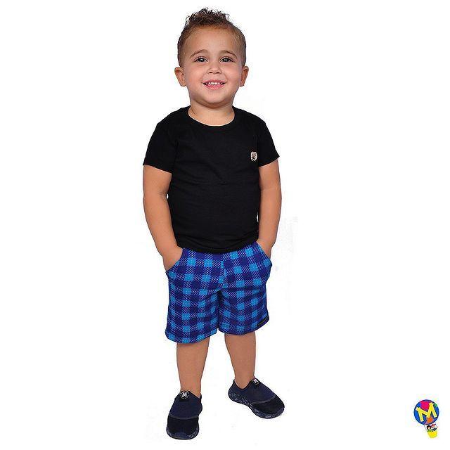 CONJUNTO INFANTIL T-SHIRT C/ BERMUDA XADREZ MUNDO MULEQUE