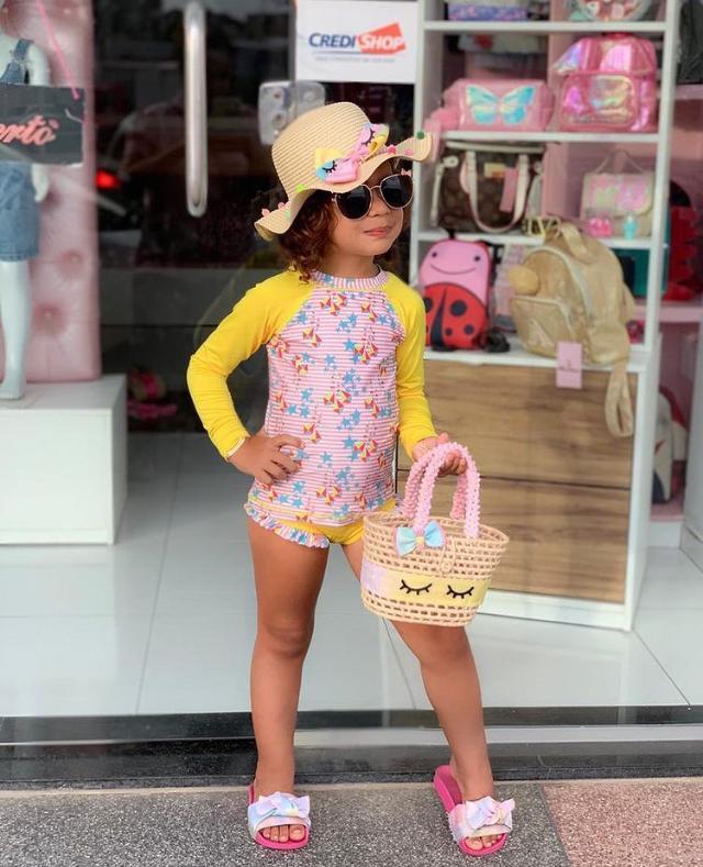 Conjunto Proteção UV Feminino Ondas Kids;