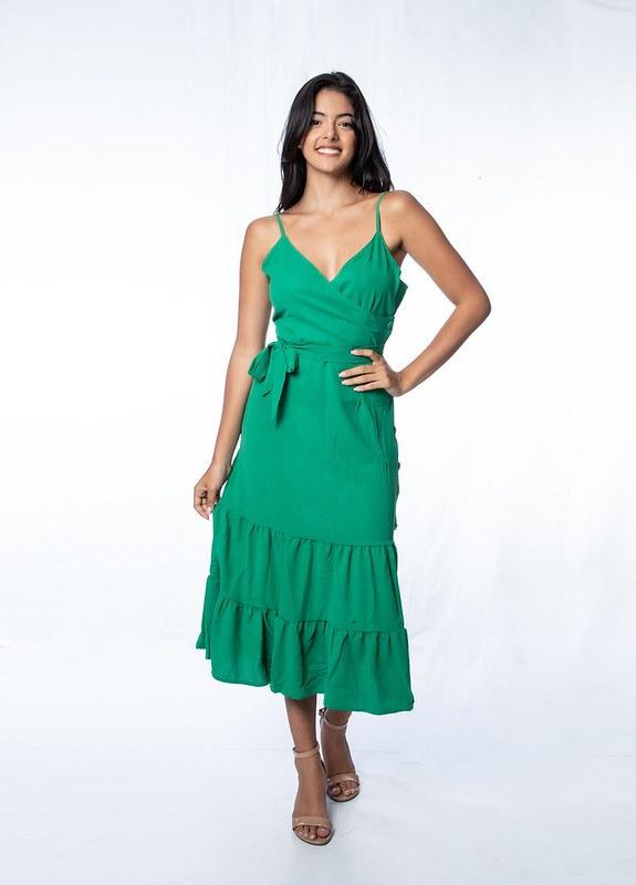 Vestido longo alcinha com recortes