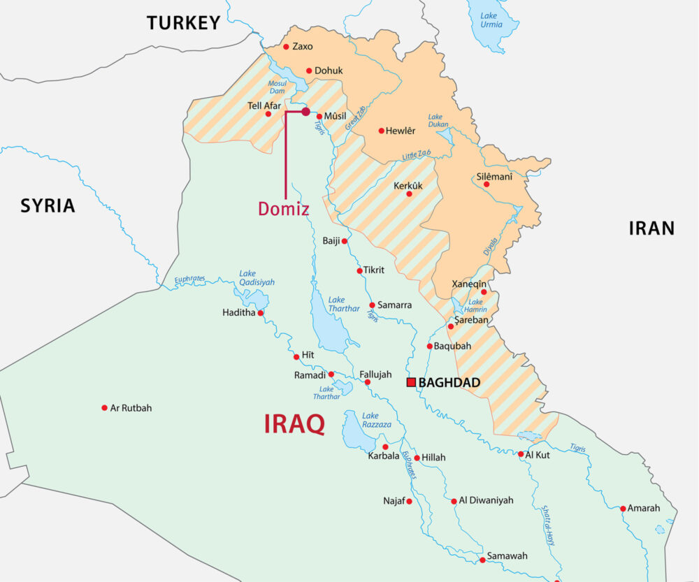 Map of Iraq, Syria, Turkey, and Iran