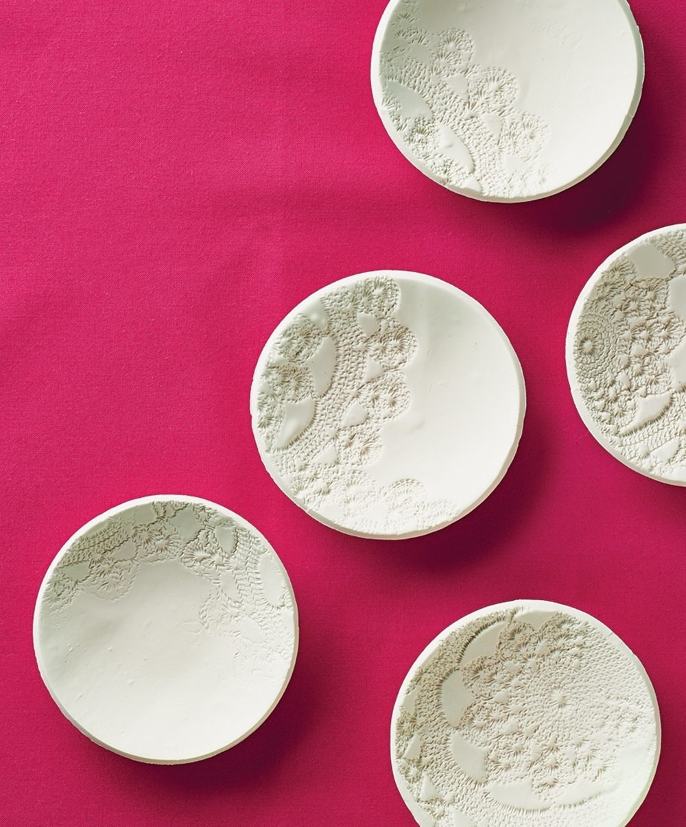 clay bowls with lace impressions
