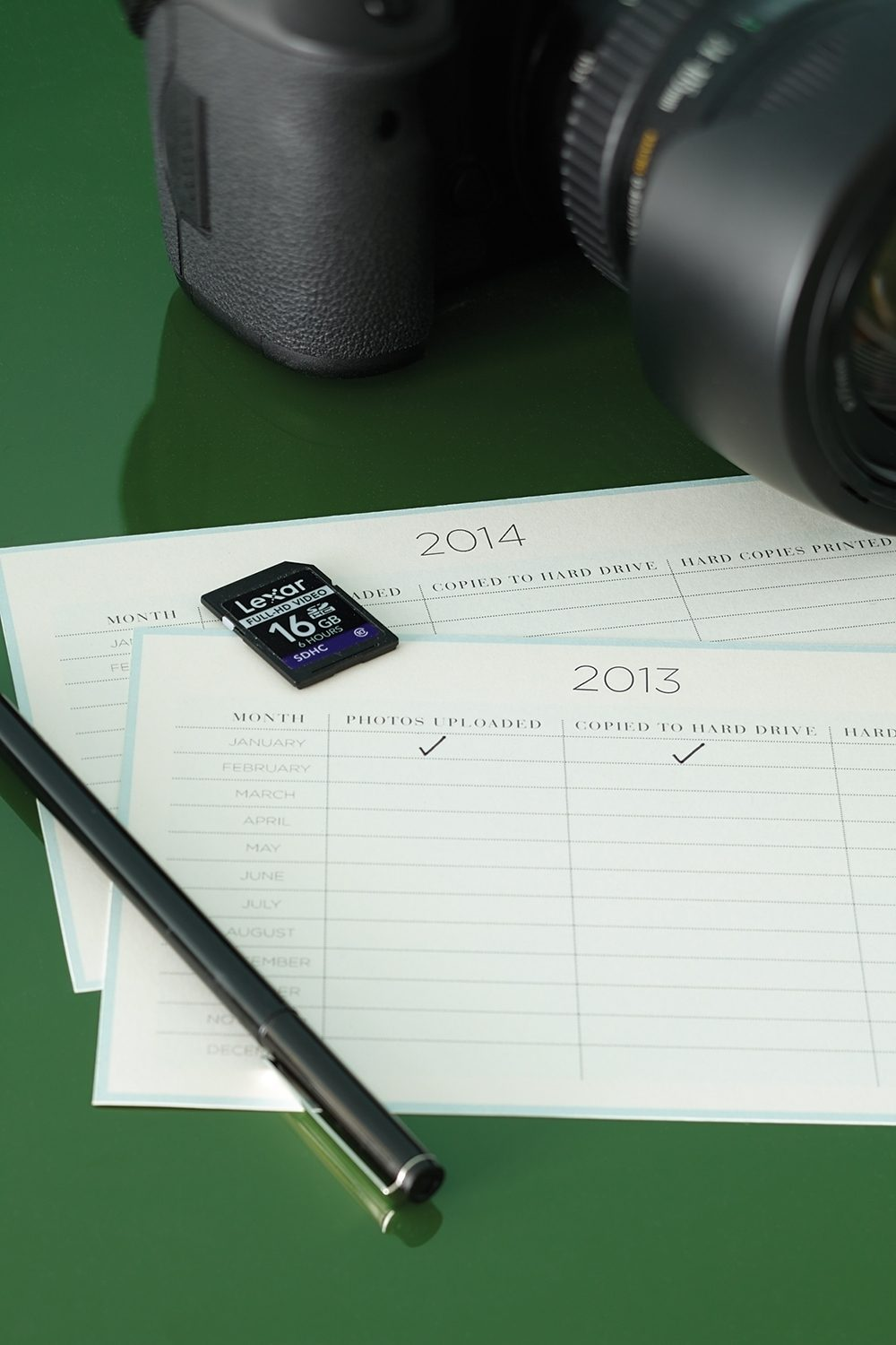 A camera memory card on a tracking document