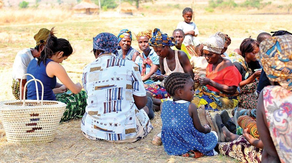 Members gather for the women's group in Chishiko, Zambia