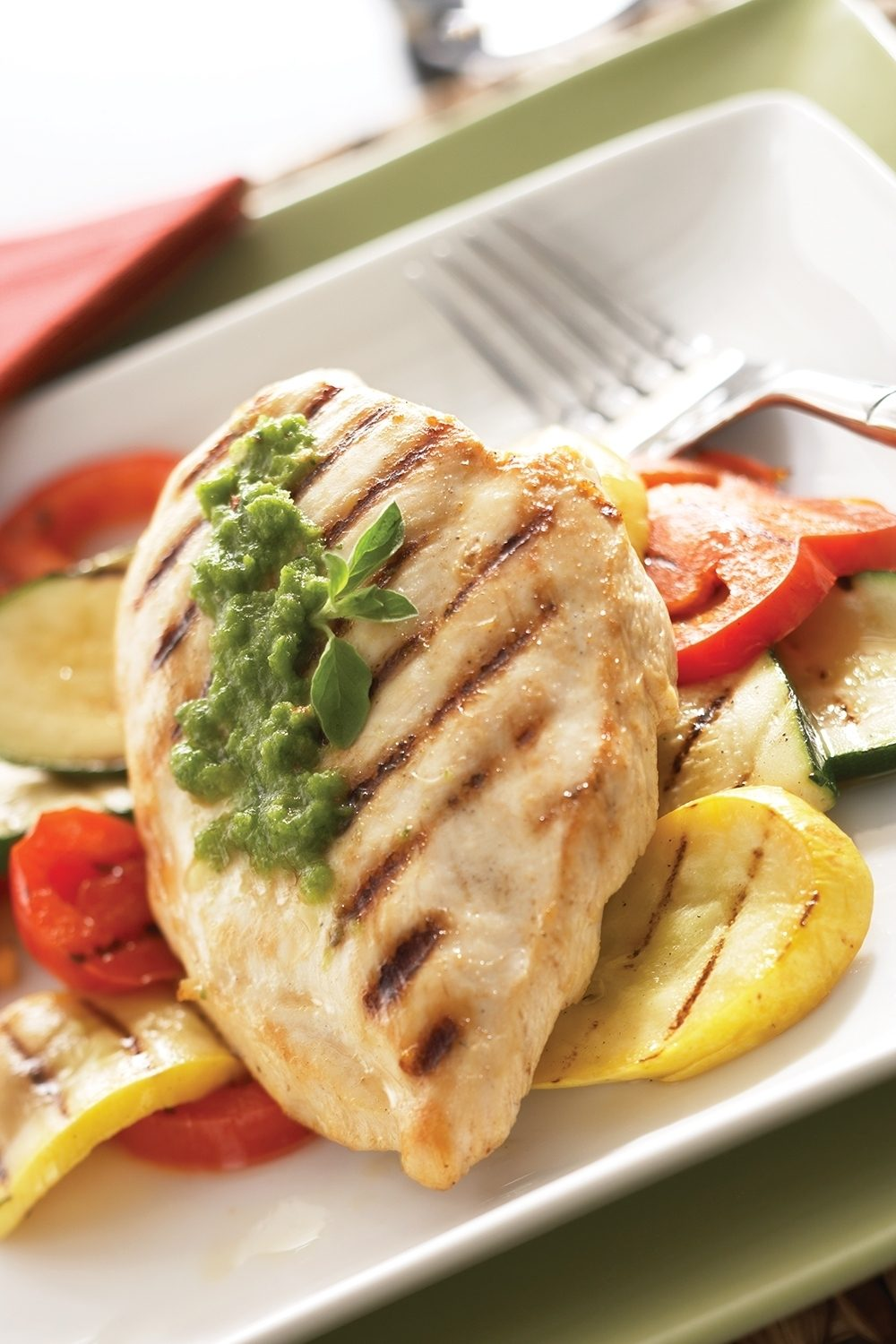 Plump juicy chicken with an aromatic  chimichurri sauce promises a succulent supper with just a hint of Latin spice.
