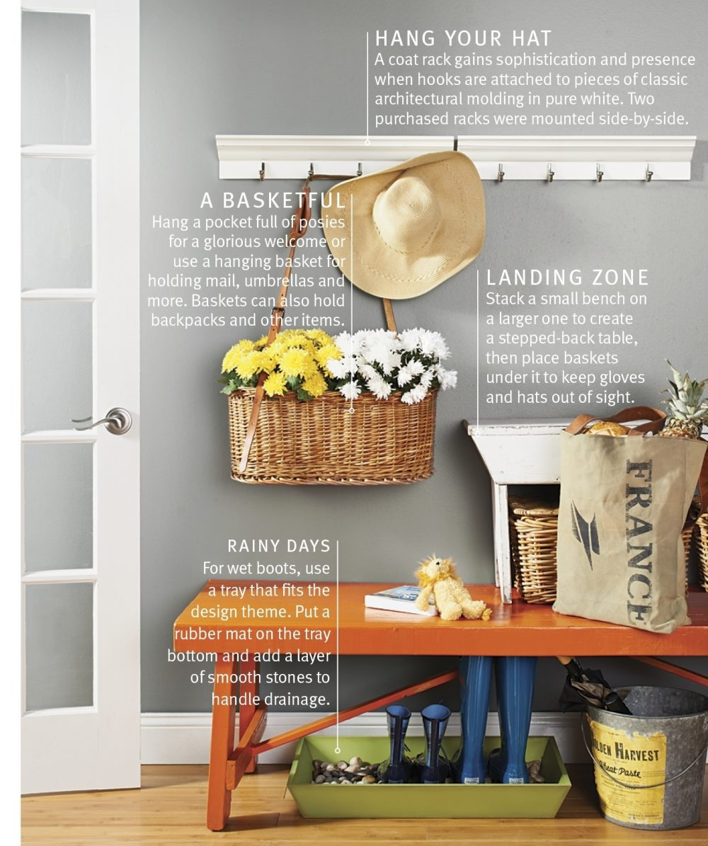 A bench provides a place to sit in an entryway, and a row of hooks offers a place to hang items.