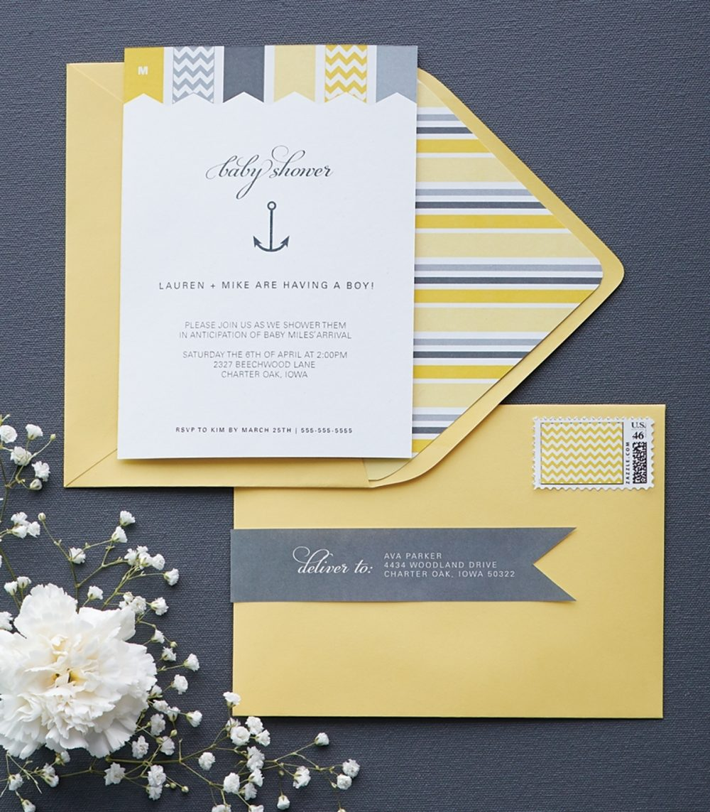 Invitations for a co-ed baby shower follow its yellow and gray theme.