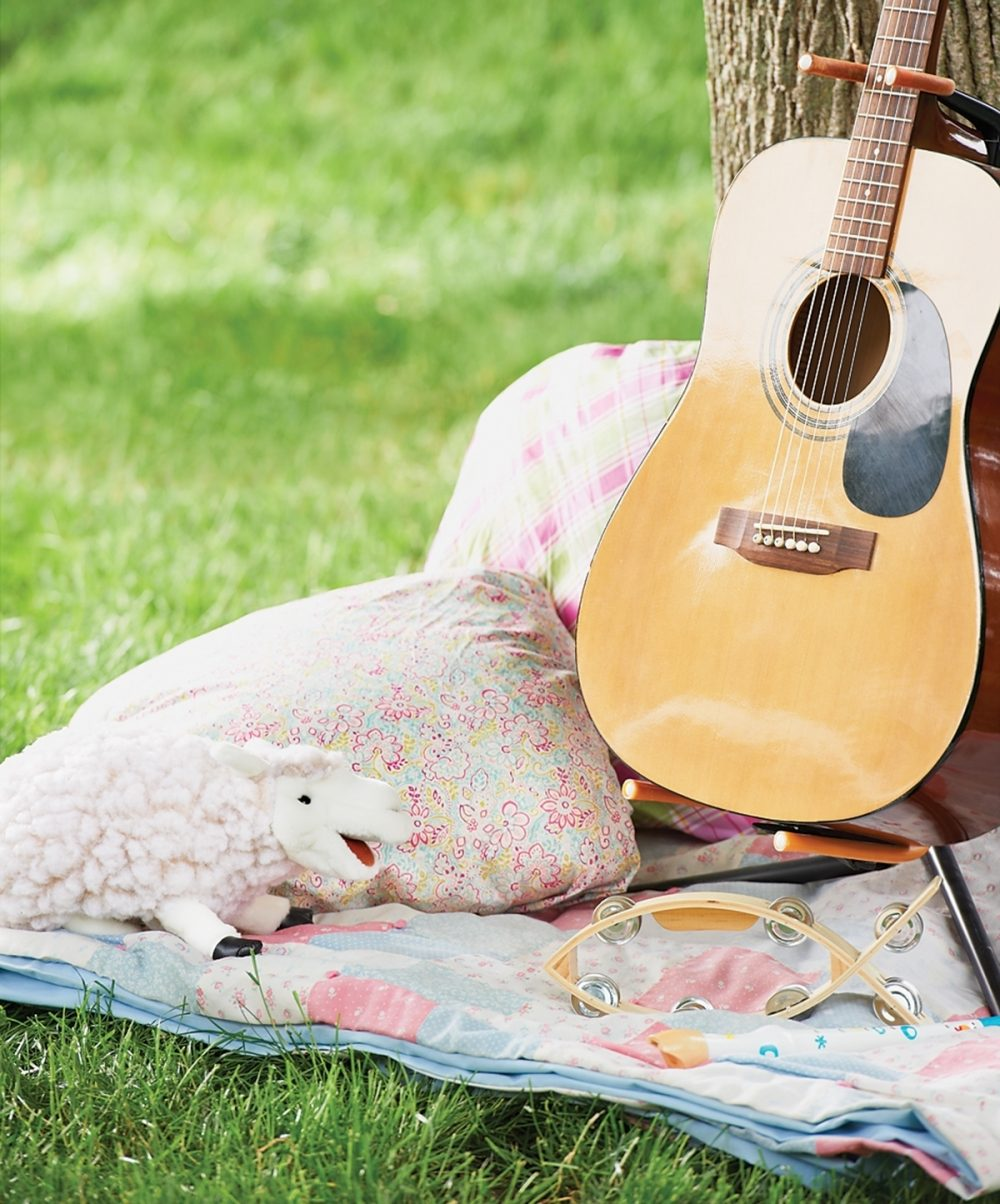 A guitar and fish-shaped tambourine rest on a picnic blanket next to a tree.