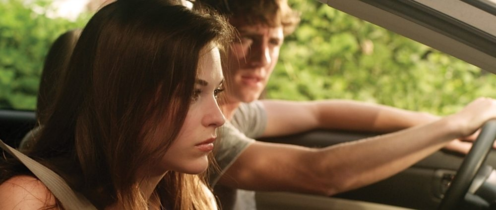 A still from the movie 'October Baby' featuring Rachel Hendrix and Jason Burkey.