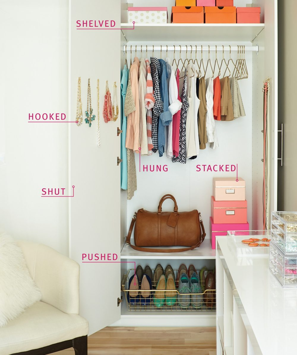 Organize your closet with smart storage solutions.