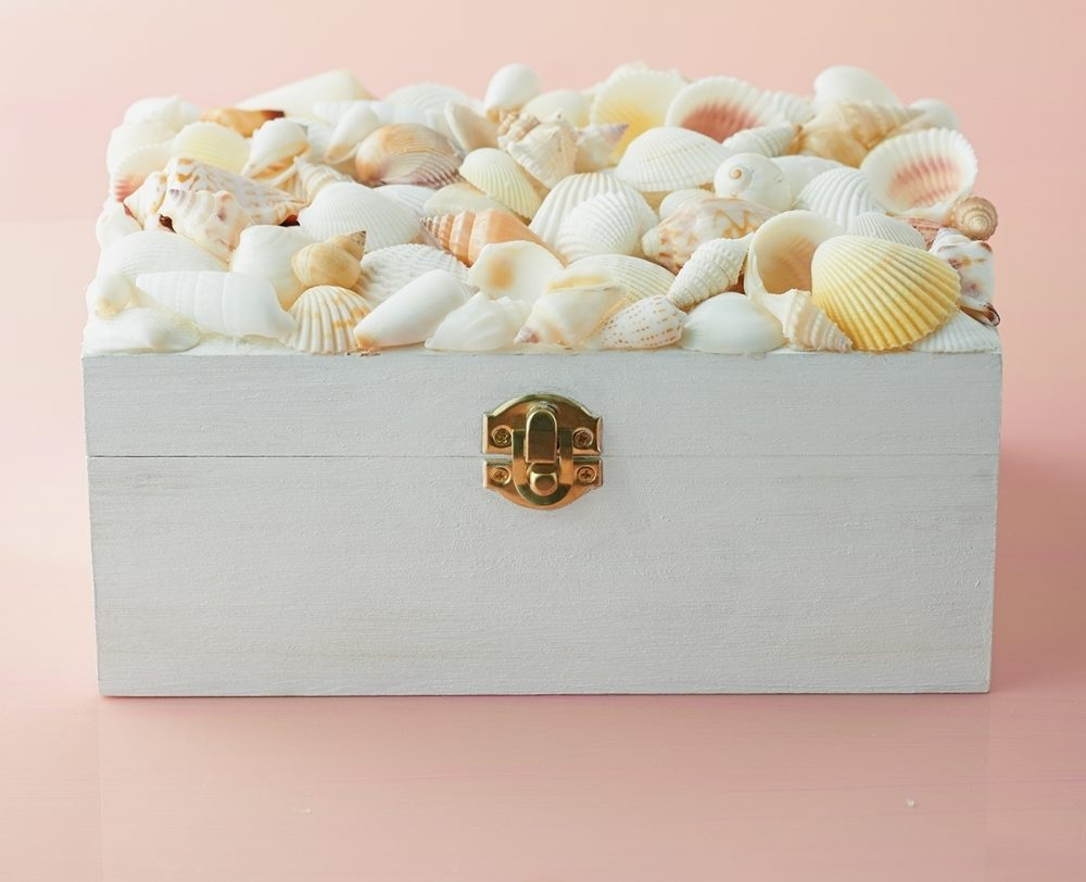 Make your own shell-encrusted box using shells found at a craft or online store or gathered at a seashore.