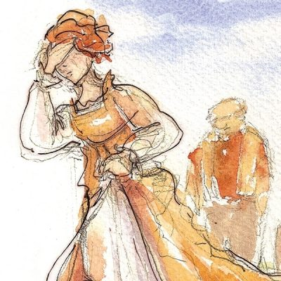 An illustration of a woman from a Lamplighter Publishing book.