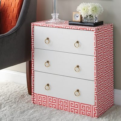 DIY upgrade of an IKEA Rast dresser with fabric covering and new drawer pulls