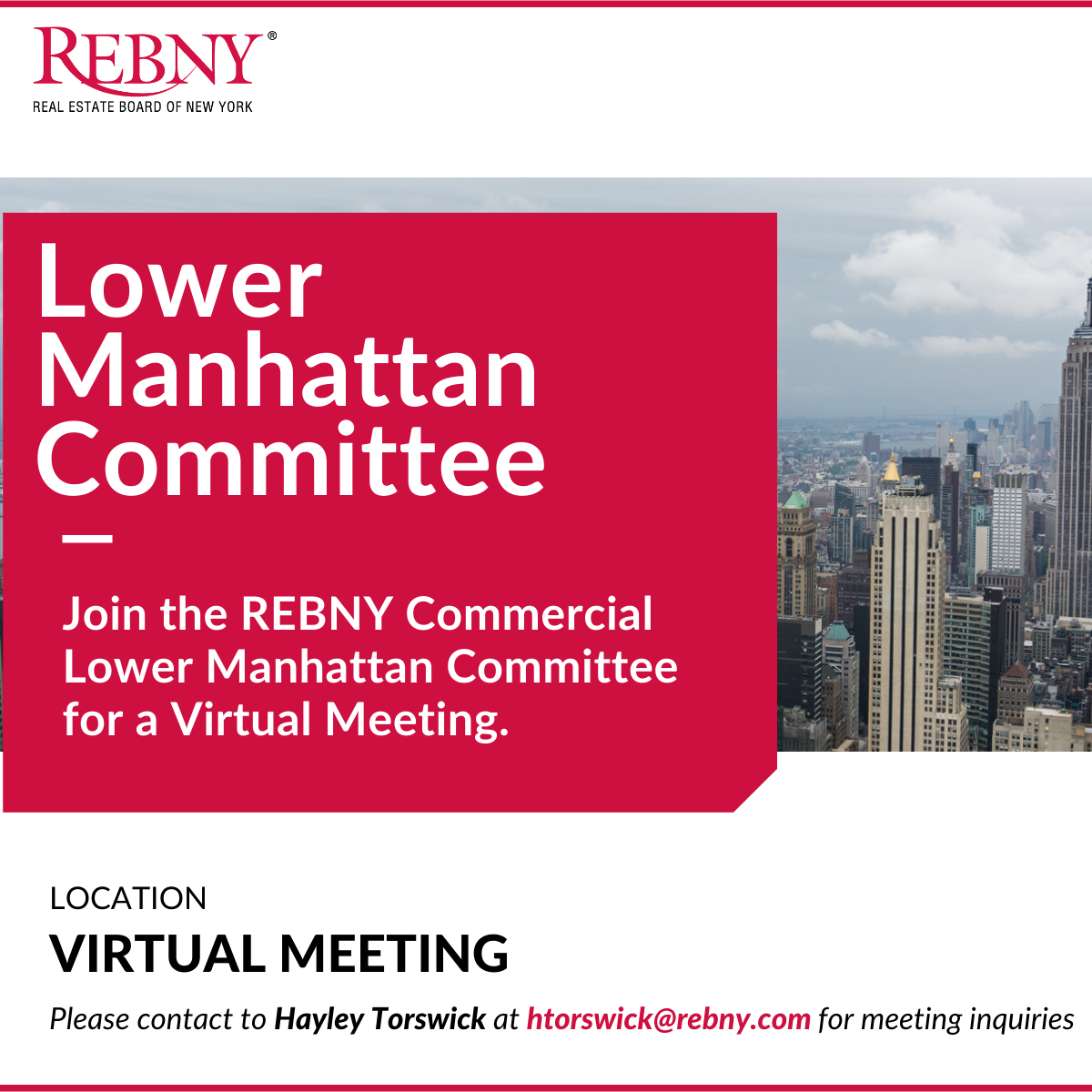 VIRTUAL: Commercial Brokerage Lower Manhattan Committee Meeting