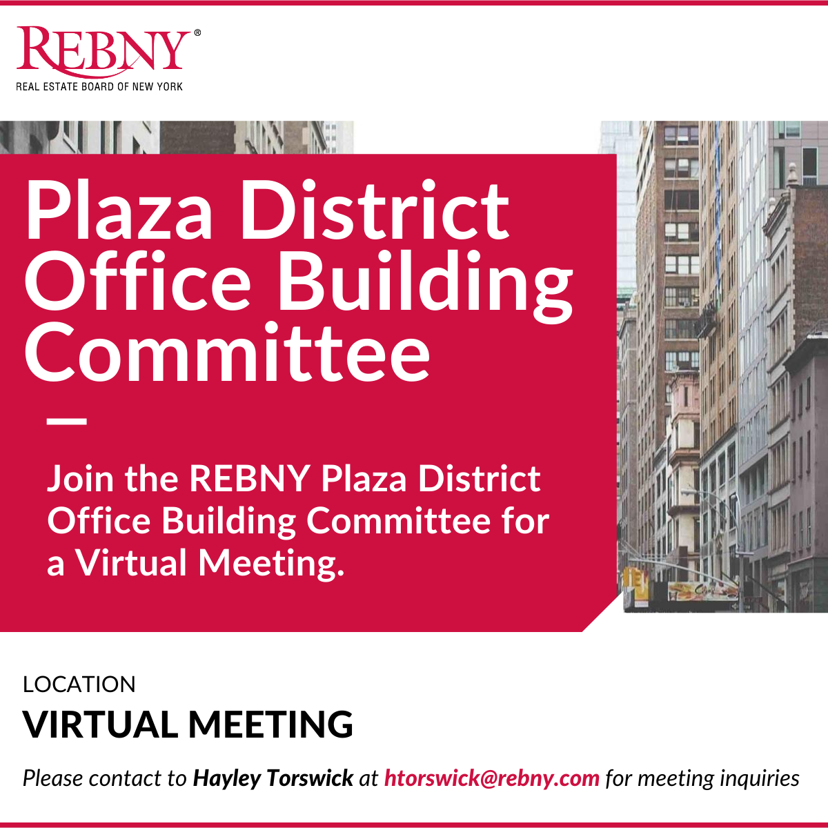 VIRTUAL: Commercial Brokerage Plaza District Office Building Committee Meeting