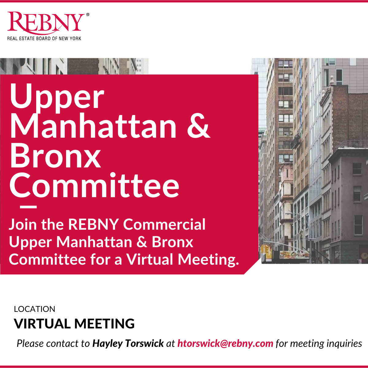 VIRTUAL: Commercial Brokerage Upper Manhattan & Bronx Committee Meeting
