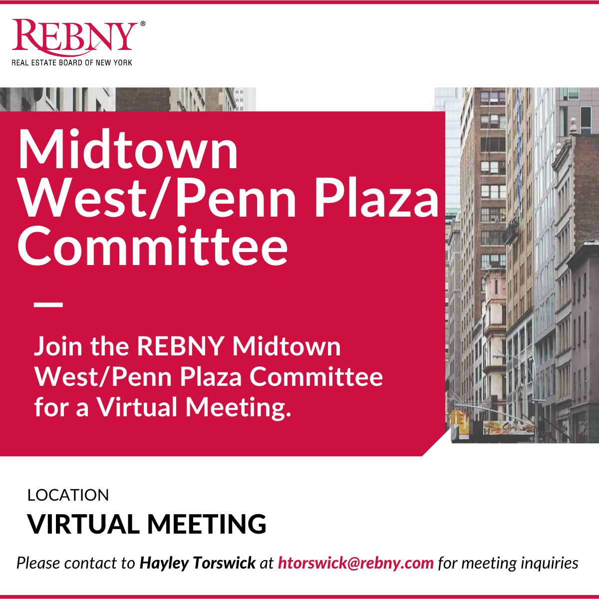 Virtual Commercial Brokerage Midtown West/Penn Plaza Committee Meeting