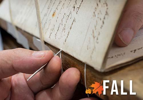 Hand stitching bookbinding