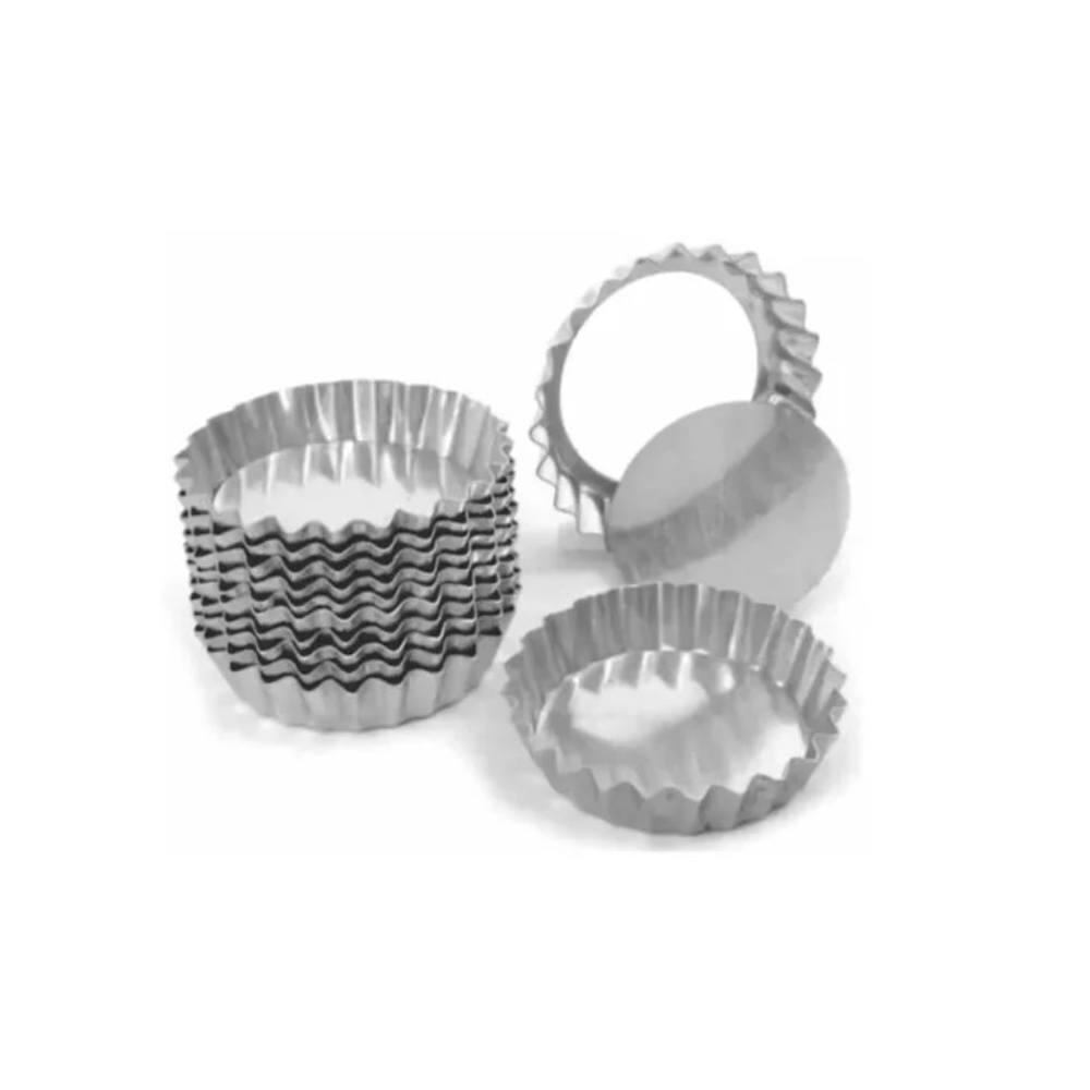 Forminhas De Torta Crespa Fundo Falso 7cm Alumínio 12 Peças Doupan