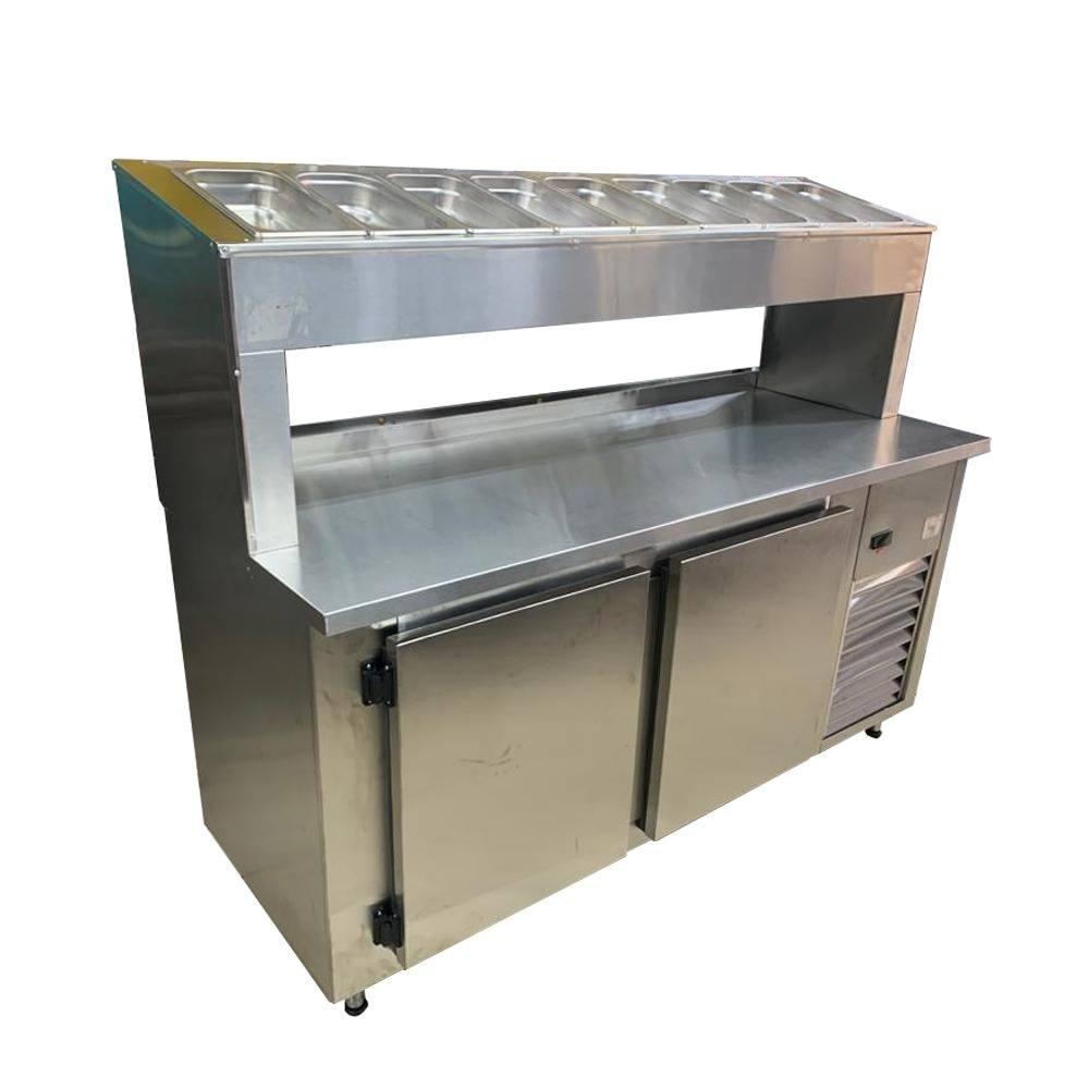 Balcão Pizzarola Condimentador Refrigerado 1,70m Inox Sem Cubas FrigoPRO 220V