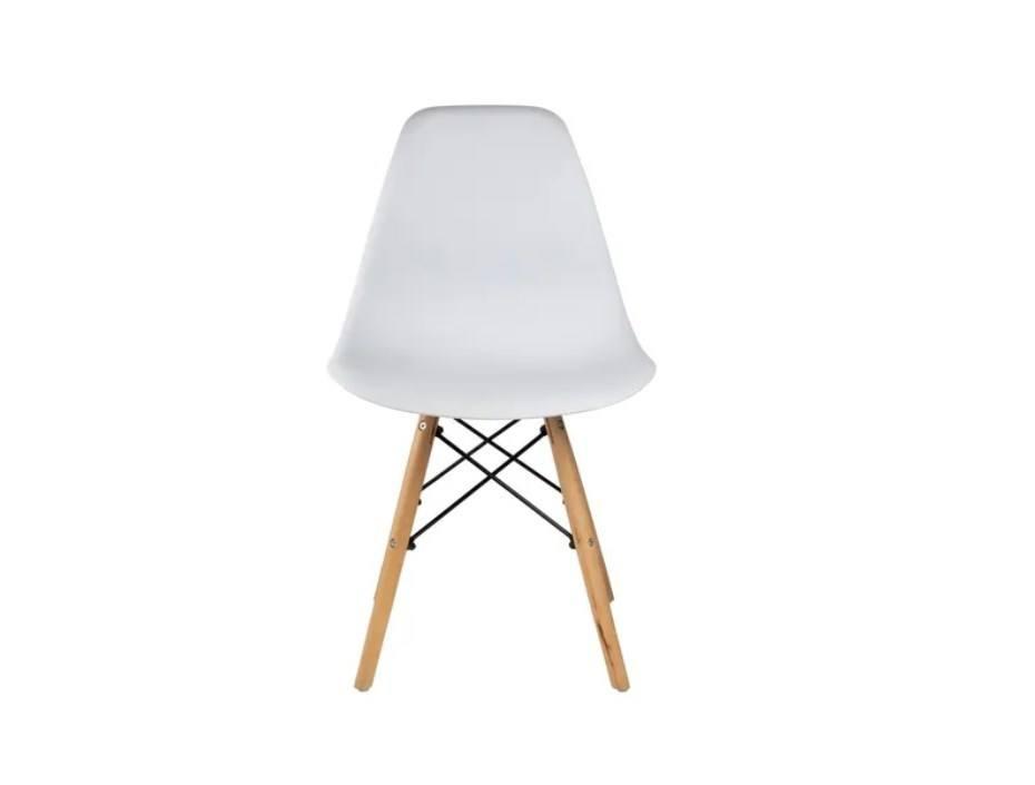 Cadeira Branca Polipropileno Charles Eames Eiffel Base Madeira Frigopro