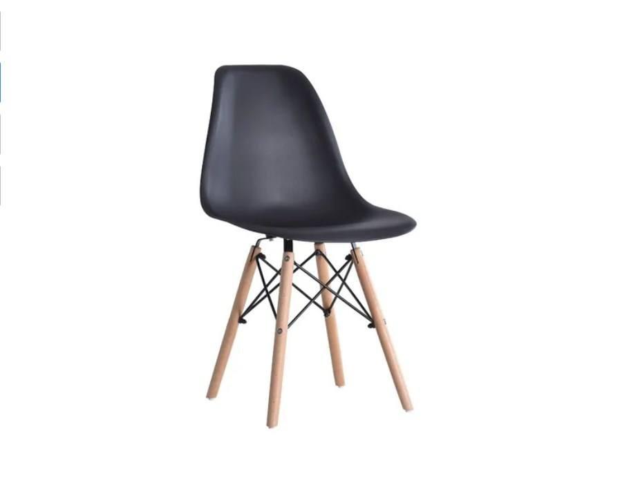 Cadeira Preta Charles Eames Eiffel Base Madeira Frigopro