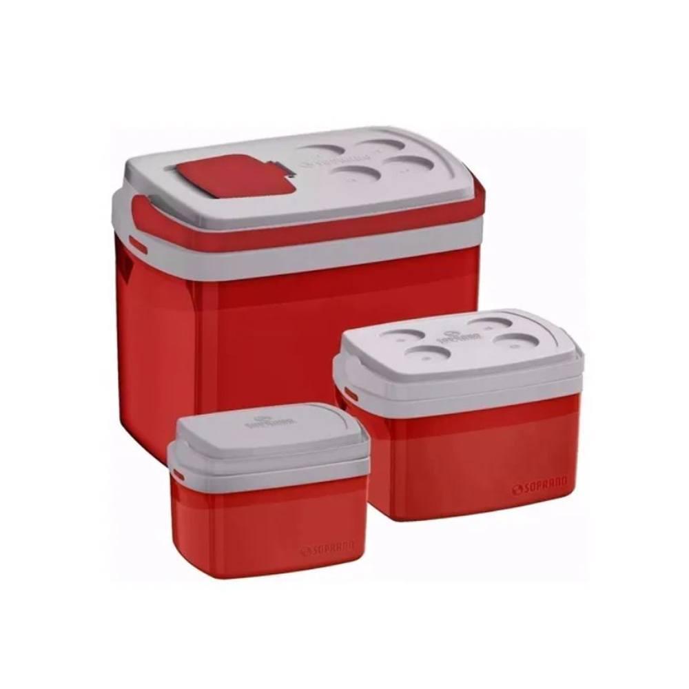 Conjunto 3 Caixas Térmicas Tropical Cooler Vermelho Soprano