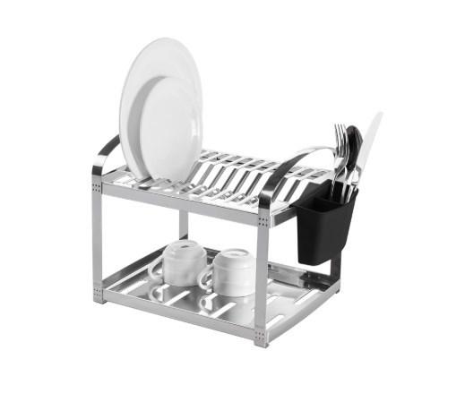 Escorredor Aço Inox 12 Pratos com Escorredor de Talheres Plástico Brinox