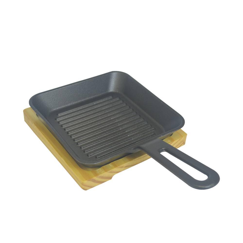 Frigideira De Ferro com Suporte de Madeira Quadrada 30x18 cm Frigopro