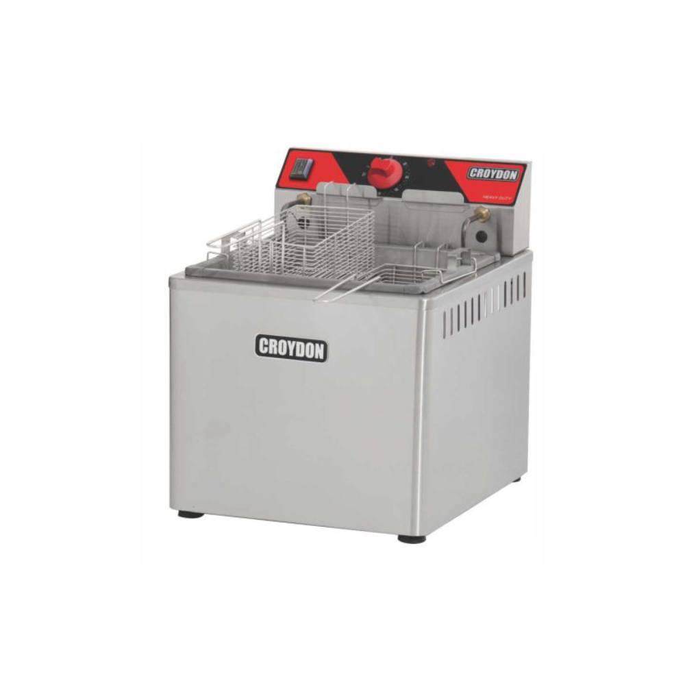 Fritadeira Elétrica Industrial de Mesa 2 Cestos 15 Litros 5000W Zona Fria Croydon