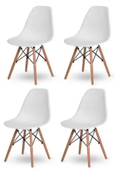 Kit 4 Cadeiras Brancas Charles Eames Eiffel Base Madeira Frigopro