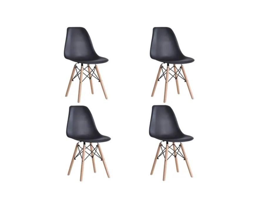 Kit 4 Cadeiras Pretas Charles Eames Eiffel Base Madeira Frigopro