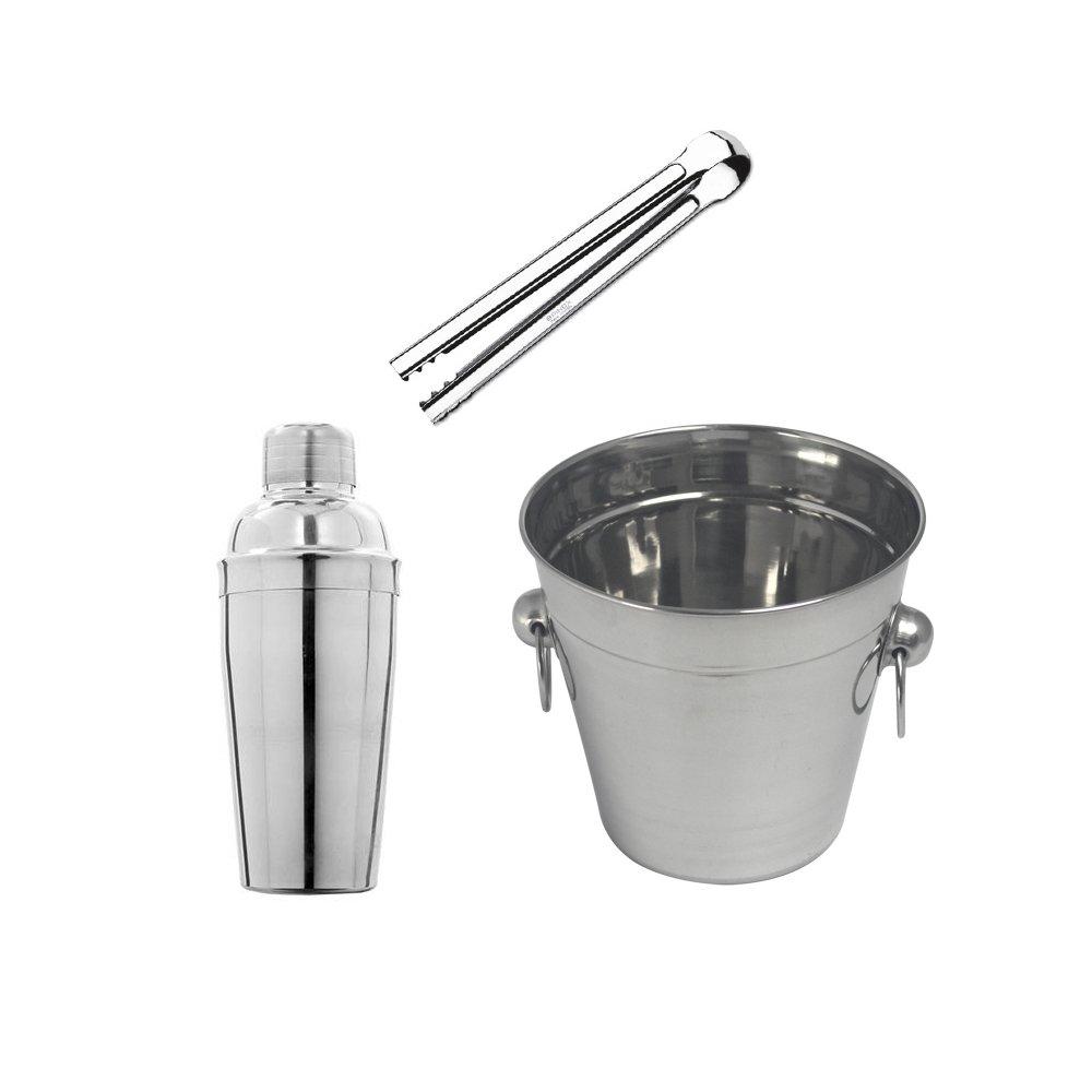 Kit Barman Balde 1,4 Litros + Coqueteleira 750 ml + Pegador de Gelo