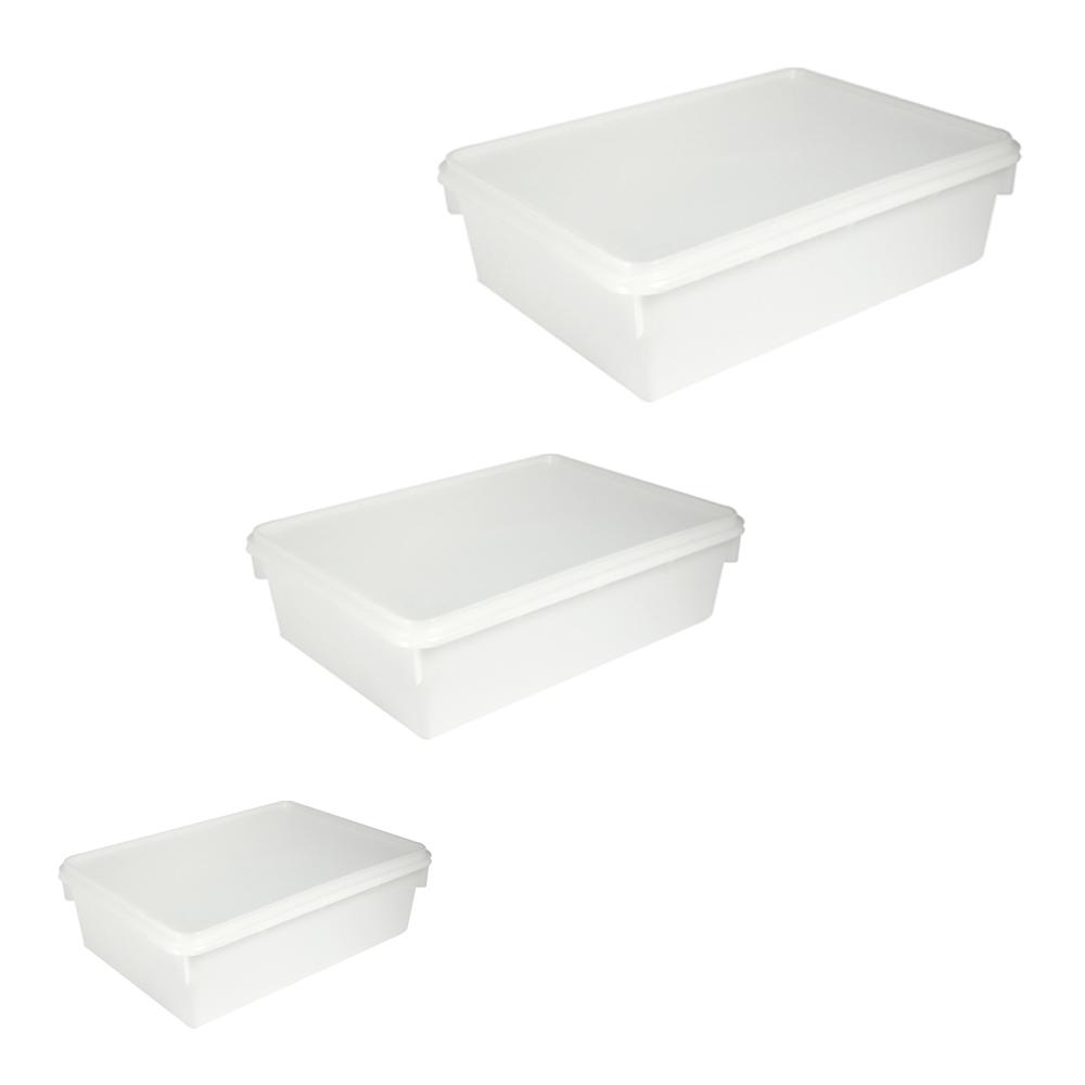 Kit c 3 Caixas Retangulares Plástica Branca Plasvale